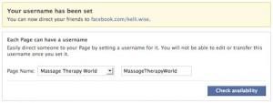 Facebook vanity url edit screen